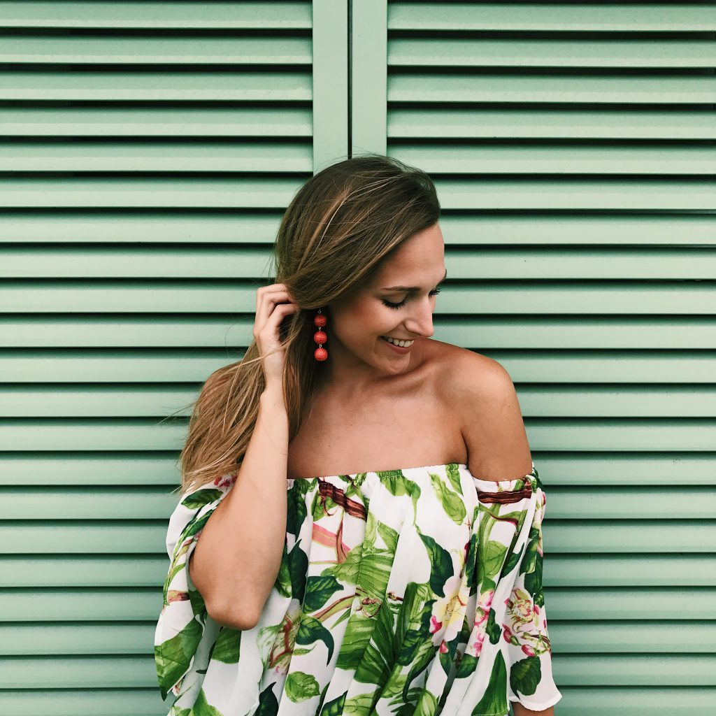 Palm Print Off The Shoulder Top