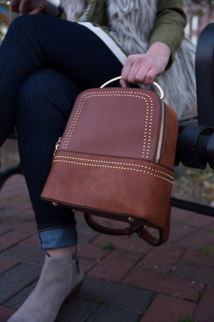 Love Winnie James faux leather backpack